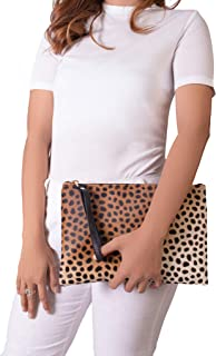 Flat Wallet Leopard Print Calf Hair Clutch Handbag