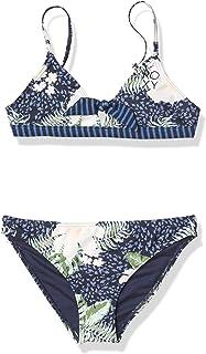 Roxy Girls' Heaven Wave Tri Two Piece Swimsuit, Mood Indigo ANIMALIA S
