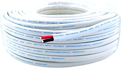 14 Gauge (American Wire Ga) Tinned Pure Copper Red Black Duplex Sheathed Marine Boat Wire. | Cable Length: 100 FT (Also Available in 50 FT roll)