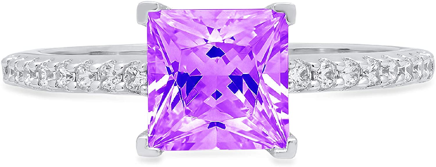 1.6ct Brilliant Princess Cut Solitaire with Accent Natural Purple Amethyst Gem Stone Ideal VVS1 Engagement Promise Statement Anniversary Bridal Wedding ring Real 14k White Gold