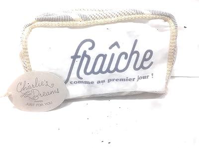 Charlie's Dreams – Beutel aus 100% Bio-Baumwolle, gewebt und bedruckt, Aufschrift Frîche wie am ersten Tag, Farbe weiß, Kordel, dunkelblau und goldfarben glänzend