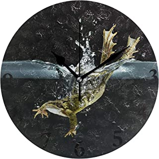 FunnyCustom Round Wall Clock Frog Hopping Into Water Acrylic Creative Decorative for Living Room/Kitchen/Bedroom/Family