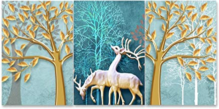 Rangoli 3D Print Deer MDF Framed Painting for Home Decoration (3D Unique, 12 inch x 18 inch,Each Frame Size Set of 3) Wate...