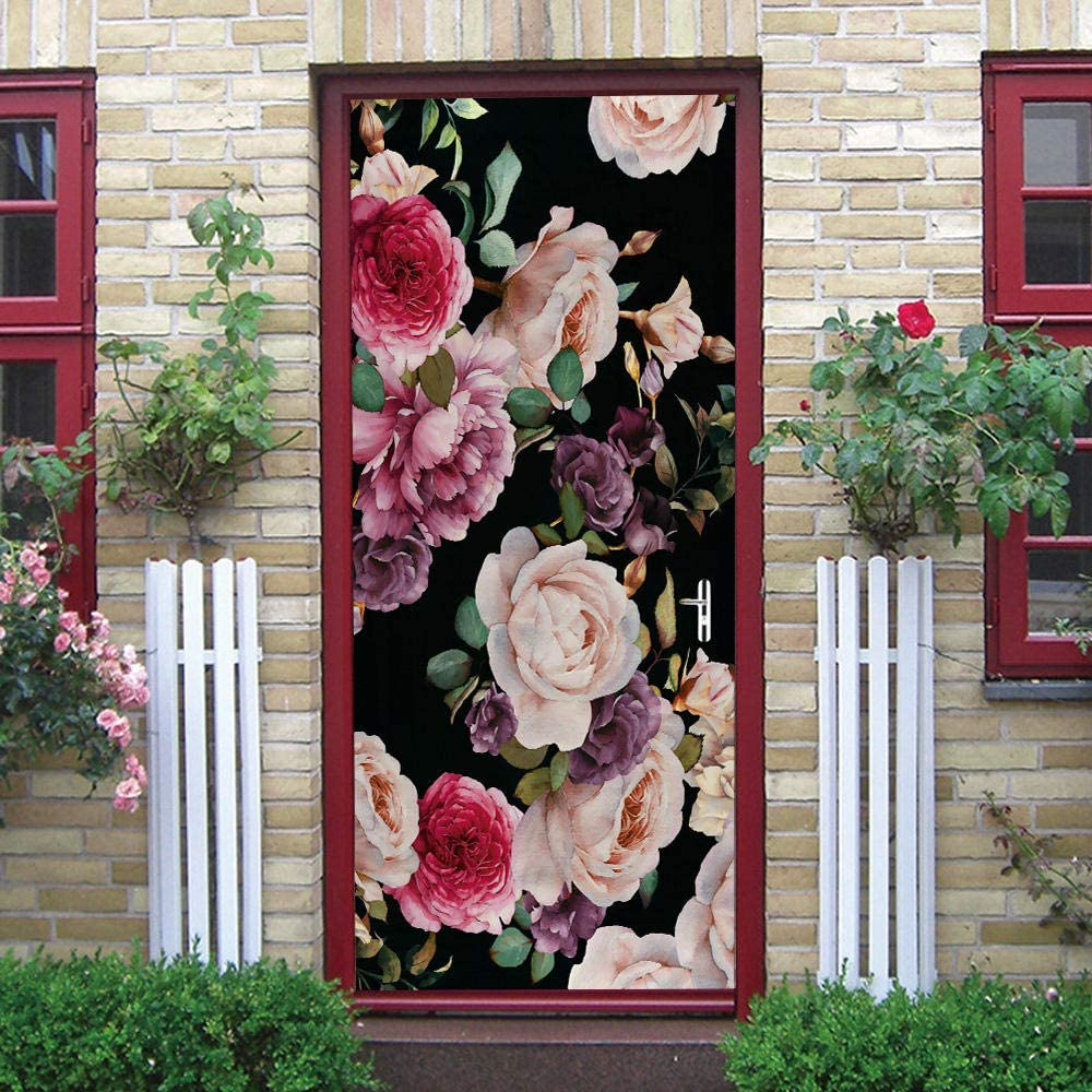 3D Door Stickers PVCBlooming Flowers Interior Doors Adhesiv free shipping Self National uniform free shipping