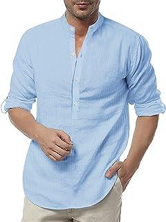 COOFANDY Men's Linen Henley Shirt Long Sleeve Casual Hippie Cotton Beach T Shirts