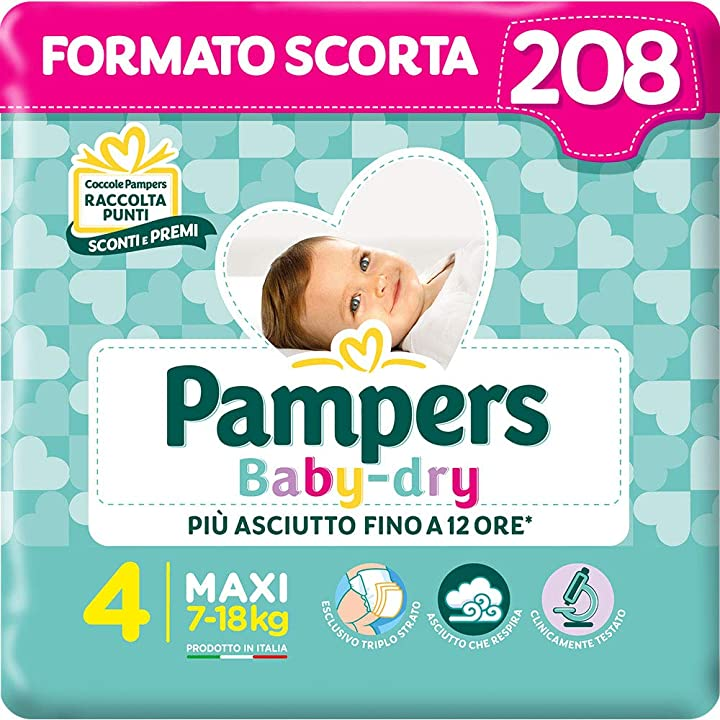 Pampers baby dry maxi, 208 pannolini, taglia 4 maxi (7-18 kg) 08001480107779