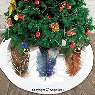 Asian Ethnic Feathers with Tribal Ornament Ceremonial Esoteric Inspired Design Print,Christmas Tree Skirt Mat,Orange Blue,48 inches,Merry Christmas for Party and Holiday