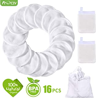 Reusable Makeup Remover Pads+Face Cleansing Mitten, 16 Pcs Soft Bamboo Silk Cotton Round Toner Pads with Laundry Bag