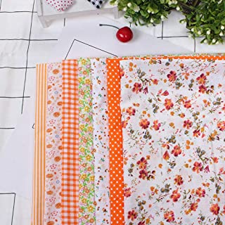 Fabric Squares, Sewing Fabric Fabric, Fabrics Orange Floral Fabric Quarters Sewing Shop for Home School(25 * 25)