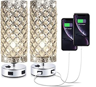 Pack of 2 Surpars House Crystal Table Lamp with Double USB Charging Port, On/Off Switch on Base,Bedside Lamp Nightstand Lamp,Silver