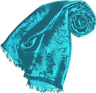 Lorenzo Cana High End Luxus Schal Luxustuch elegant gewebt in Damast - Webung florales Paisley Muster aus Viskose mit Seide 55 x 190 cm