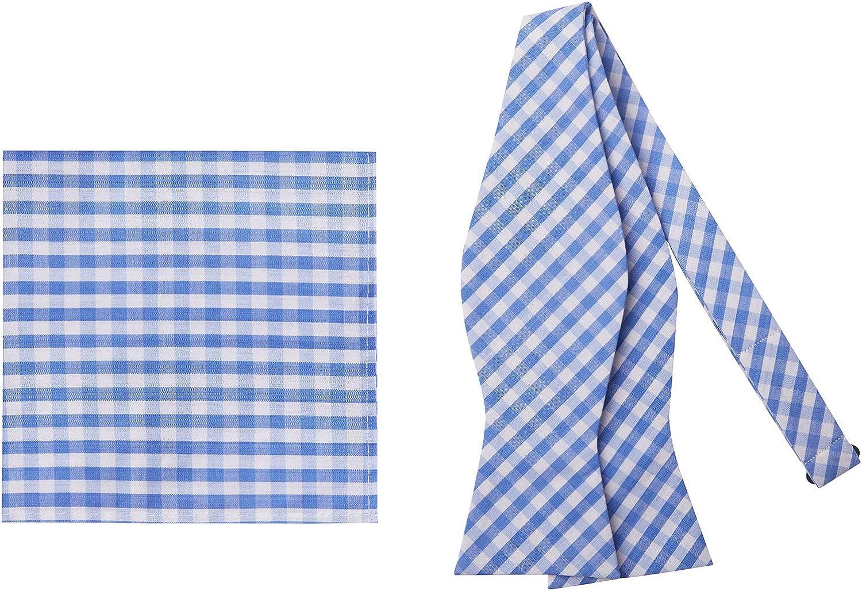 Jacob Alexander Gingham Men's Self-Tie Bow Tie and Pocket Square Set