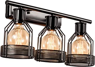Black Vanity Light Industrial Bathroom 3 Lights Retro Cage Wall Sconce Metal Shade Vintage Wall Lights Fixtures for Indoor Home Dressing Table Mirror Cabinet Vanity Table (Bulb Not Included)