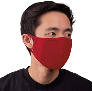 Aulin� Collection Made in USA Cotton Fabric Washable Reusable Filter Pocket Face Mask, Red 1 PK