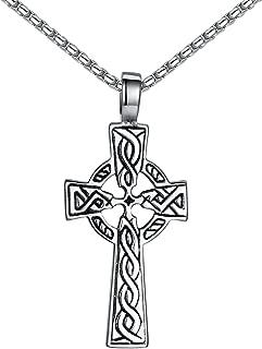 Stainless Steel Celtic Cross Irish Knot Pendant Necklace, Unisex, 21