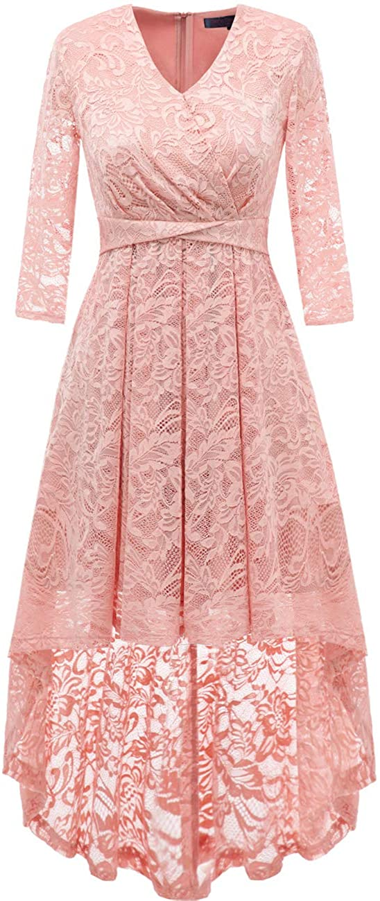 DRESSTELLS Women Floral Bridesmaid Lace Dress 3/4 Sleeves Hi-Lo Cocktail Party Swing Dress