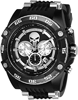 Men's Marvel Stainless Steel Quartz Watch with Silicone Strap, Black, 26 (Model: 26859)