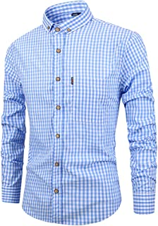 TAOBIAN Men's Cotton Slim Fit Plaid Dress Shirts Casual Long Sleeve Button Down Dress Shirts