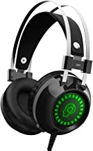Gaming Headset for Xbox One, S, PS4, PC with LED Soft Breathing Earmuffs, Adjustable Microphone, Comfortable Mute & Volume Control, 3.5mm Adapter for Laptop, PS3