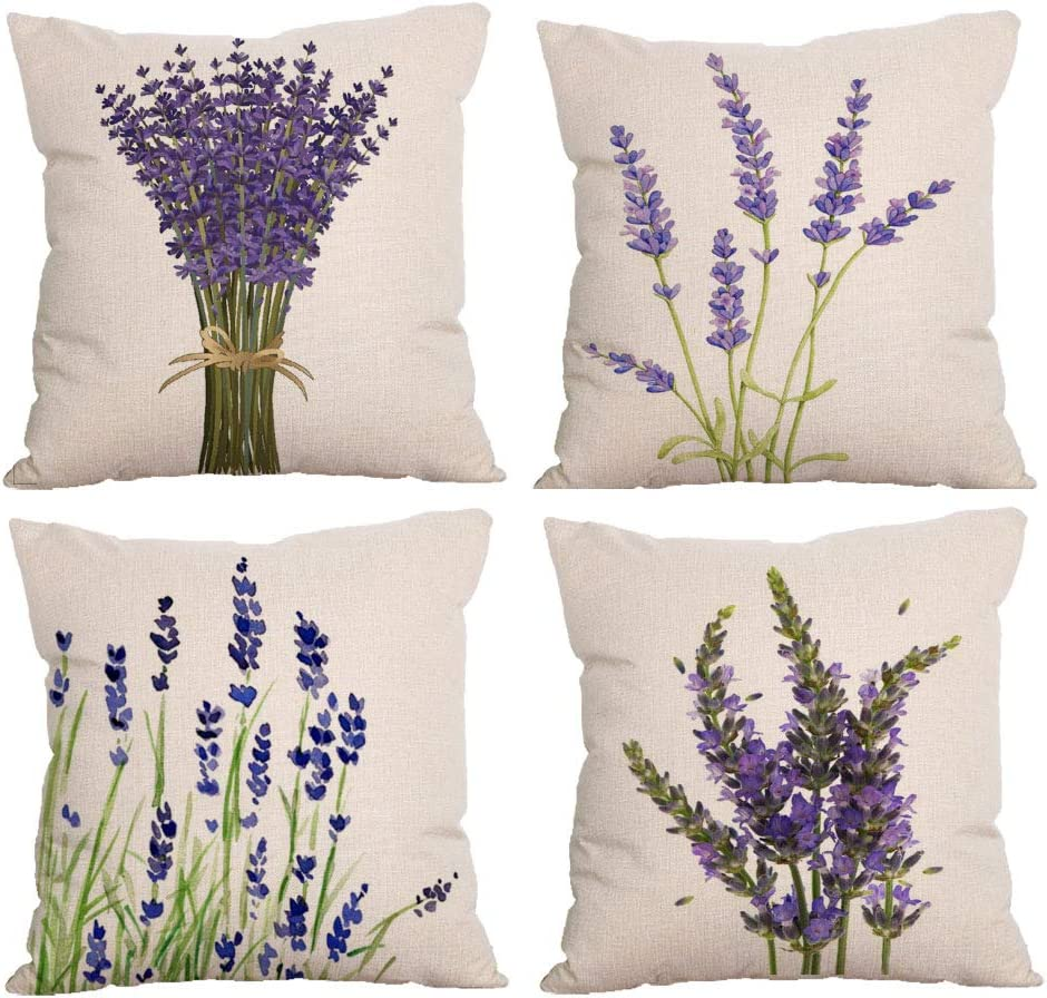 4-Pack Decorative Throw Pillow Cover Some reservation Garden Outd Lavender Manufacturer direct delivery 18x18