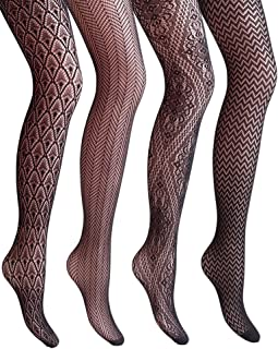 4 Styles Women Fishnet Tights Patterned Fishnets...
