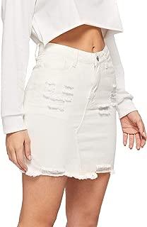 Verdusa Women's Casual Distressed Frayed Pencil Short Denim Skirt