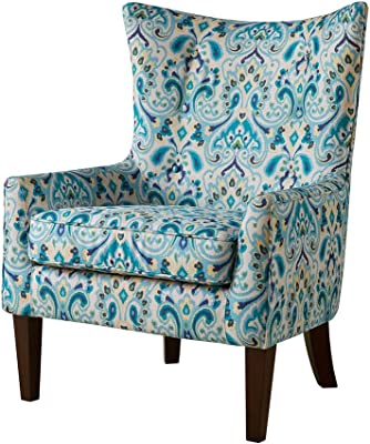ModHaus Living Contemporary Teal Blue Green Print Upholstered Button Tufted Wingback Accent Armchair with Dark Wood Legs- Includes Pen
