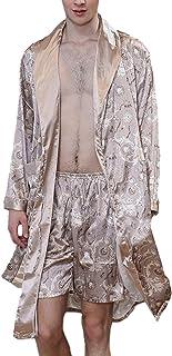 HX fashion Dressing Gown Men Spring Summer Vintage Silk Sauna Coat Comfortable Sizes Long Sleeve V-Neck Printed Breathable...