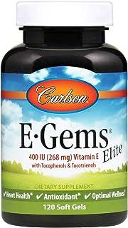 Carlson - E-Gems Elite, 400 IU (268 mg) Vitamin E with Tocopherols & Tocotrienols, Heart Health & Optimal Wellness, Antiox...