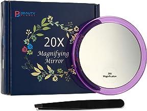 Espejo de Maquillaje con 3 Ventosas, Lupa 20X, Plata/Púrpura/Rosa/Azul, con Pintas y Eliminación de la Espinilla/Manchas, Redondo de 4 Pulgadas?Púrpura?