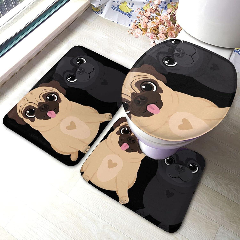 Pugs Couple Dog Cartoon Sale Special Price Cute Bathroom Antis Piece free Antiskid 3 Set