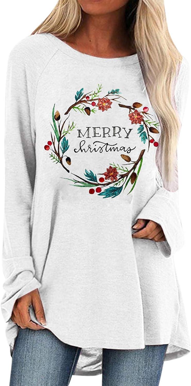Sales results No. 1 Women It is very popular Swearshirt Casual Beauty Wreath Crewneck Print Long Sleeve