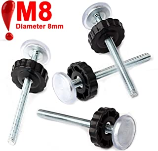 4 Pack M8 (8mm) Threaded Spindle Rods for Baby Gate, Replacement Hardware Parts Kit for Pet & Dog Pressure Mounted Safety Gates - Extra Long Wall Mounting Accessories Screws Adapter Rods, Black Bolts