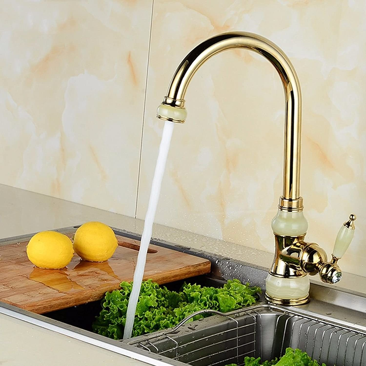 LHbox Basin Mixer Tap Bathroom Sink Faucet European Natural jade full copper surface basin of hot and cold water faucets kitchen sink to redate the gold antique fittings,