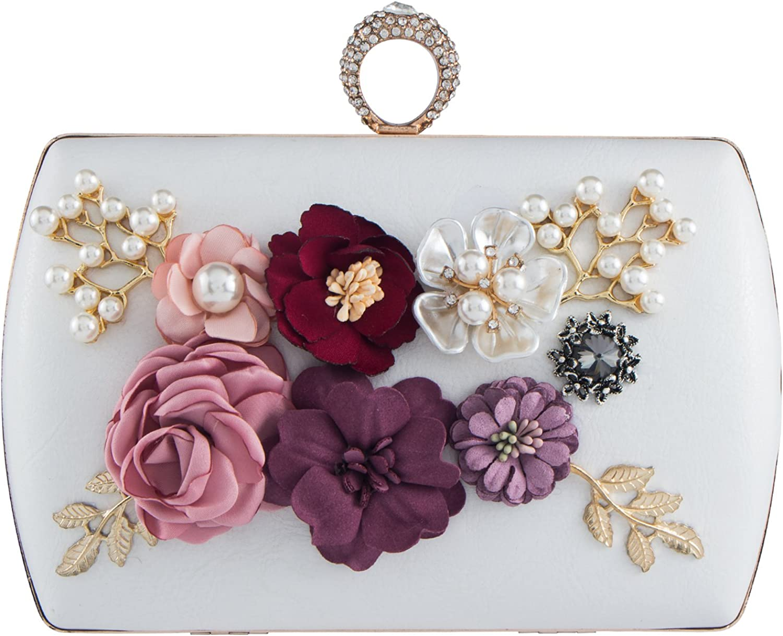 Bagood Women's 3D Flower Handbag Beaded Pearl Clutches Ring Purses Shoulder Bag for Wedding Bridal Prom Party