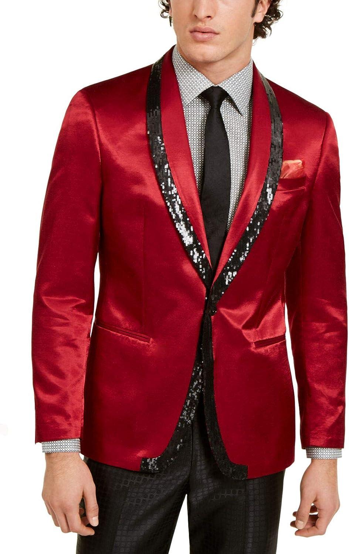 Tallia Mens Blazer Long Sequin Embellish Satin Two Button Red 40