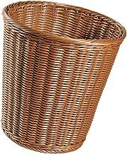 Cesto de Lixo Redondo de Vime para Banheiros, Cozinhas, Escritórios Domésticos, 39 x 39 cm Marrom Claro