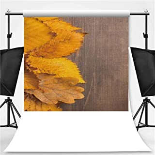 Yellow Old Dirty Leaves Design with Copy Space Over Wooden Table Photography Backdrop,039804 for Television,Pictorial Cloth:5x7ft