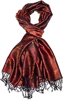 Lorenzo Cana Luxus Herren Schal Schaltuch jacquardgewebt 100% Seide 70 cm x 190 cm Paisleymuster Seidenschal Seidentuch harmonische rot bronze Farben 7808511
