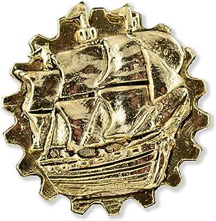 Gear Ship Steampunk Pewter Lapel Pin, Brooch, Jewelry, G40