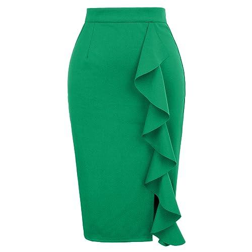 606ea4a44a5 GRACE KARIN Women s Ruffle Bodycon Knee Length Midi Pencil Skirt