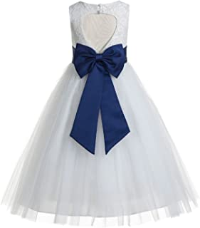 0f596b6f45 ekidsbridal Floral Lace Heart Cutout White Flower Girl Dresses First Communion  Dress Baptism Dresses 172T