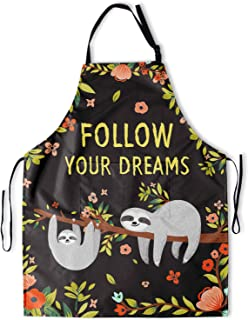 Granbey Cute Sloth Mom Baby Apron with 2 Pockets Lazy Animals Aprons with Adjustable Neck Straps Inspirational Saying Foll...