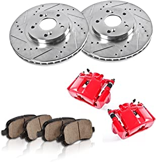CCK11851 FRONT Powder Coated Red [2] Calipers + [2] Rotors + Quiet Low Dust [4] Ceramic Pads Performance Kit
