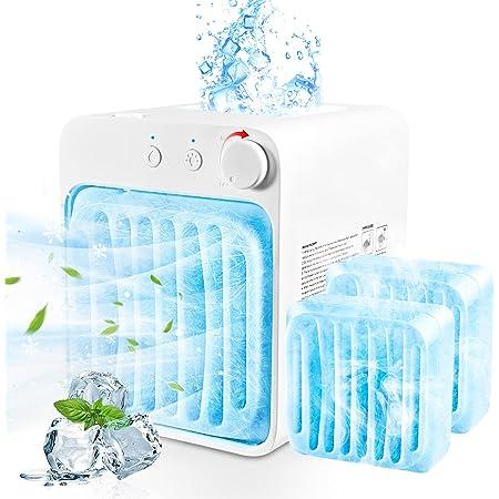 Condizionatore Portatile Mini Air Cooler, Mini Raffreddatore D'aria, Condizionatore Personale Usb Mini Air Conditioner Da Tavolo per Auto Ufficio Casa (Bianca)