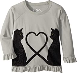 Vintage Jersey Velvet Cats Peplum Tee (Toddler/Little Kids)