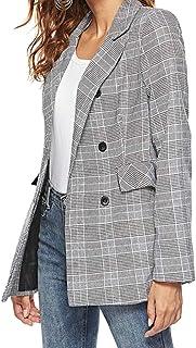 maweisong 女性のプレードチェック6ボタンブレザースーツジャケット
