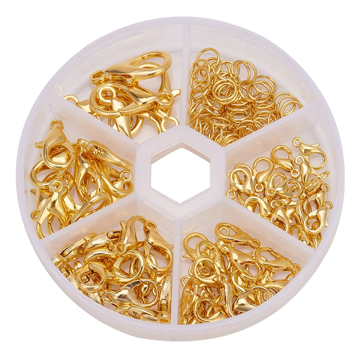PH PandaHall 70pcs 5 Size Golden Zinc Alloy Lobster Claw Clasps and 40~50pcs 6mm Iron Open Jump Rings for Jewelry Making Accessories