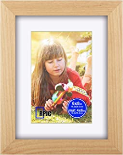 6x8 inch Picture Frame Made of Solid Wood and High Definition Glass Display Pictures 4x6 with Mat or 6x8 Without Mat for Wall Mounting Photo Frame Natural