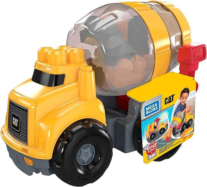 Caterpillar, camioncino betoniera, giocattolo per bambini 1+ anni, multicolore, gfg11 mega bloks
